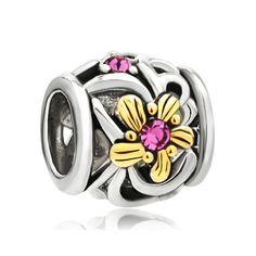 Charms Beads - 22k gold rose pink crystal diamond charm bracelet accent flower bead Image.