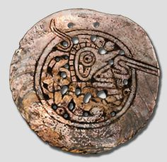 A Mississippian culture Williams Island style or Spaghetti style Birdman themed shell gorget.