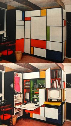 1960s Mondrian Desk, Color Blocking Interiors, Interior Design, Furniture Design, Inspiration, Visual History of Color Blocking, h-a-l-e.com