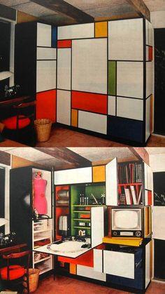 1960s Mondrian Desk, Color Blocking Interiors, Interior Design, Furniture Design, Inspiration, Visual History of Color Blocking, h-a-l-e.com