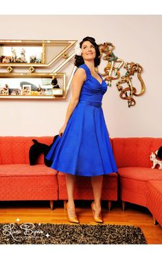 I want one in every color...Pinup Couture- Heidi Dress in Royal Blue | Pinup Girl Clothing