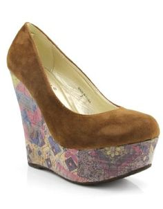Cork Round Toe Wedge Shoes Brown