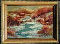 George R. Wilson Landscape Painting Vermont Winter Snow Snowy Scene Rural  #Realism