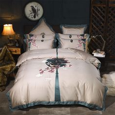 Chinese Embroidery Red-Crowned Crane Bedding Sets