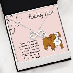 This beautiful heart necklace in gold or silver is the perfect gift for any Bulldog Mom. The message card says the love of a bulldog is worth every dog hair, every muddy paw print, every early morning and every dollar spent. Cute Necklace, Message Card, Working Moms, Early Morning, Beautiful Necklaces, Unique Gifts, Messages, Cat, Dogs