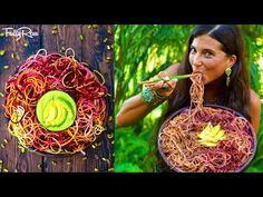 FullyRaw Rainbow Pasta with Creamy Avocado Mango Pistachio Dressing! - YouTube