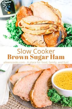 Make your ham in the slow cooker with this easy crockpot brown sugar ham recipe! We show you a simple way to reheat your ham while cooking it in a simple sweet sauce.