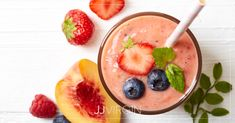 Start breakfast off right with a power-packed protein shake: a yummy blend of peaches and berries that will keep you full and energized all morning.