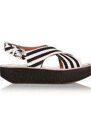 Sandales plate-formes en toile à rayures
