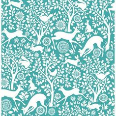 A - Street Prints Mirabelle Meadow Animals Wallpaper Teal - 2702-22731