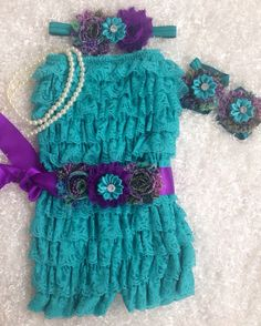 Peacock Inspired/Teal and Purple/Peacock Theme Romper set/Teal Lace Romper/First Birthday/FlowerGirl/CakeSmash/Pageant/PhotoProp on Etsy, $44.99