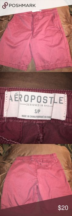 Men's Aeropostale shorts Men's jogger shorts! Very comfortable! Has tie up strings, and never worn! Don't have the tags but it's just been in my closet! Color is maroon Aeropostale Shorts Flat Front