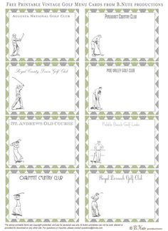bnute productions: Free Printable Vintage Golf Cards - Famous Golf Courses--would make a great calling/gift card for a boy!