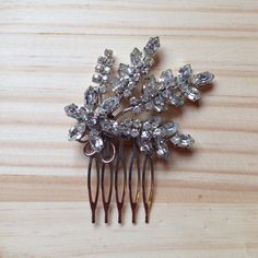 Art Deco Hair Comb: Large Vintage Art Deco Silver and Clear