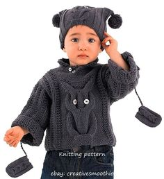 (70) Knitting Pattern for Baby Sweater, Hat, Mitts with Owl Motif