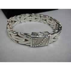 Sterling Silver 925 Flat Byzantine link heavy bracelet rare bikers style 155 g, Alex Resale Shop offer.