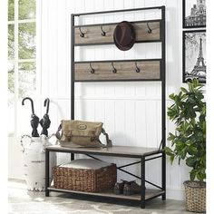 """Shop for 72"""" Industrial Metal and Wood Hall Tree - Driftwood. Get free shipping at Overstock.com - Your Online Furniture Outlet Store! Get 5% in rewards with Club O!"""