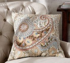 Selena Paisley Embroidered Applique Pillow Cover | Pottery Barn