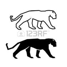 panther: cat silhouette sur un fond blanc