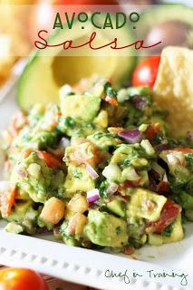 Its healthy, tasty and gluten free Avocado Salsa! This stuff is incredible to top (or dip) your favorite Mexican food in! Yummy Recipes, Mexican Food Recipes, Appetizer Recipes, Great Recipes, Cooking Recipes, Favorite Recipes, Healthy Recipes, Avocado Recipes, Party Recipes