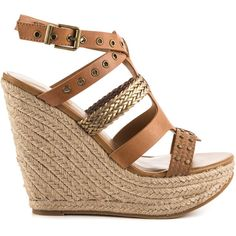 Aldo Women's Chacien - Cognac Bronze (£67) ❤ liked on Polyvore featuring shoes, sandals, wedges, heels, brown, summer wedge sandals, platform heel sandals, platform sandals, brown platform sandals and espadrille wedge sandals