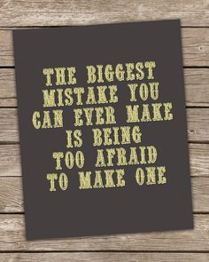 The Biggest Mistake Inspirational Wall Art Print Gray & Yellow Poster Home Decor 8x10 Positive Inspirational Quote Premium Print