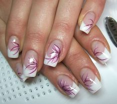 Nageldesign french I would do design only on ring finger Fingernail Designs, Nail Polish Designs, Acrylic Nail Designs, Nail Art Designs, Pedicure Designs, Nails Design, French Nail Art, French Nail Designs, French Tip Nails