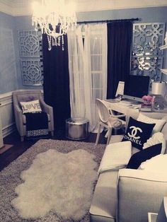 Small living room design minus the Chanel room design interior design house design home design decorating My New Room, My Room, Sala Glam, Glam Bedroom, Chanel Bedroom, Extra Bedroom, Extra Rooms, Master Bedroom, Messy Bedroom