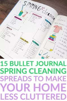 15 Bullet Journal Spring Cleaning Spreads To Make Your Home Less Cluttered - AnjaHome Bullet Journal Cleaning, Bullet Journal Work, Bullet Journal Tracker, Bullet Journal How To Start A, Bullet Journal Spread, Bullet Journal Layout, Bullet Journal Inspiration, Bullet Journals, Household Notebook