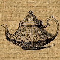 Antique Vintage Tea Pot Service Digital Collage by GraphicVariete, $1.00