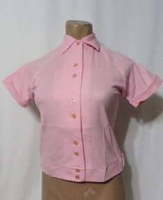 Vintage 50s 60s Shirt Hilton Bowling Pink Rockabilly B34 Shirt Jac Deadstock VLV #Hilton