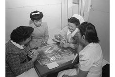 Bridge game, Nurse Aiko Hamaguchi, Nurse Chiye Yamanaki, Miss Catherine Yamaguchi, Miss Kazoko Nagahama