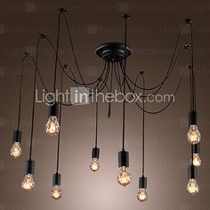 In stock,ship in 24 hrs,Buy Chandelier Vintage Design Bulbs Included Living 10 Lights with best price and best Service! Light Bulb Chandelier, Diy Pendant Light, Cheap Chandelier, Vintage Chandelier, Pendant Light Fixtures, Pendant Lamp, Pendant Lights, Ceiling Pendant, Chandeliers