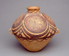 Chinese (Neolithic period, Banshan phase of Gansu culture)   Double-handled Jar, ca. 2600–2300 BCE  Earthenware  13 x 14 in. diam. (33.02 x 35.56 cm)  Bequest of Laurence P. Rathsack M2008.135   Photo creditJohn R. Glembin