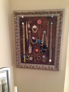 homemade picture frame jewelry rack