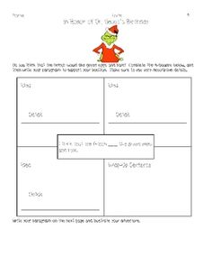 This writing prompt is to accompany activities for Dr. Seuss or Read Across America. Students will write about whether or not they think the Grinch...
