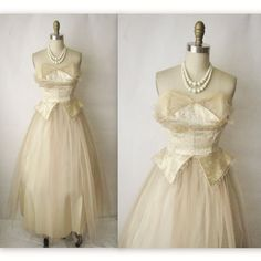 50's Wedding Dress // Vintage 1950's Champagne by TheVintageStudio, $164.00