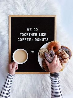Changeable letter board inspiration quotes and ideas. Handcrafted felt letter bo… Changeable letter board inspiration quotes and ideas. Handcrafted felt letter boards, home decor. The Letter Tribe Donut Quotes, Coffee Quotes, Felt Letter Board, Felt Letters, Engagement Quotes, Baking Quotes, We Go Together Like, Funny Letters, Coffee And Donuts