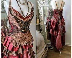 Bohemian wedding dress dusty red and sand, bridal gown for faries, rustic, recycled lace, Raw Rags - Dresses Fashion Elven Wedding Dress, Blue Wedding Dresses, Gypsy Wedding, Wedding Beach, Lace Wedding, Vintage Inspired Dresses, Vintage Dresses, Boho Outfits, Fashion Outfits