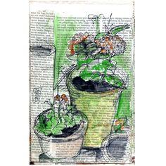 Skizze auf Zeitungspapier – Giardino | Kunst kaufen auf ueberlebenskunst.susannekleiber.de