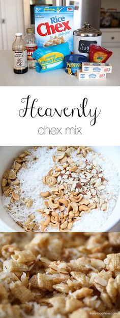 ooey gooey chex mix topped with fresh coconut and sliced almonds. Such a delicious treat that will instantly become a new favorite. You'll love this yummy ooey gooey chex mix recipe! Chex Mix Recipes, Snack Recipes, Dessert Recipes, Easy Recipes, Yummy Snacks, Delicious Desserts, Yummy Food, Yummy Treats, Get Thin