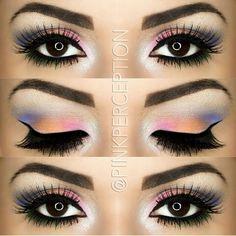 Colorful eyeshadow, pink, Orange, white, and blue eyeshadow