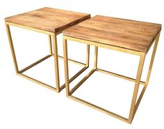 Custom Gold Finish Steel Tables with Reclaimed Wood Surfaces. $670.00, via Etsy.