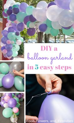 Discover how to make a balloon garland or arch. This tutorial is easy to follow and perfect for a birthday, wedding, or baby shower! Incorporate your own colors like our pretty pastel colors and add flowers to finish your pretty decorations. We have ideas to help you diy your garland without helium that will be the perfect backdrop to your party!