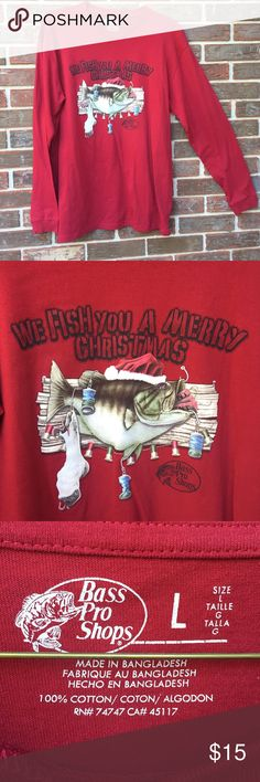 "Men's Bass Pro Shops shirt We ""Fish"" you a Merry Christmas. Never worn or washed. Size large tall. Bass Pro Shops Shirts Tees - Long Sleeve"