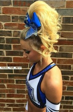 The boy is a girl. Cheer Hair Poof, Cheer Pictures, Cheer Pics, Cheer Athletics Cheetahs, Cheer Makeup, Competition Hair, Cheer Shirts, Cheer Mom, Great Hair