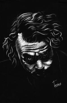 """Heath Ledger - Joker"" - 12x12 white charcoal on black paper."