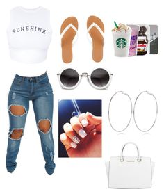 """""""You are my sunshine ☀️"""" by mc2016 ❤ liked on Polyvore featuring Wildfox, Charlotte Russe, Michael Kors and River Island"""