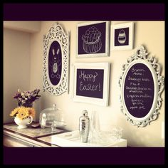 Another awesome idea! Going to have to do this one for the bedroom! We have all of our art in the living room. Plus, it will help me to remember things. Once again, ANOTHER DYI idea! Just go to a thrift store; find cheap frames, and go to a art store for chalkboard/chalk.