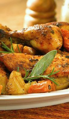Baked Chicken with Fall Vegetables - Seasoned with rosemary and sage, this oven-baked dish makes an irresistible family meal.